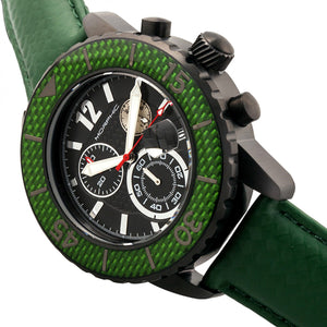 Morphic M51 Series Chronograph Leather-Band Watch w/Date - Black/Green - MPH5105