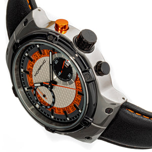 Morphic M91 Series Chronograph Leather-Band Watch w/Date - Silver/Orange - MPH9101