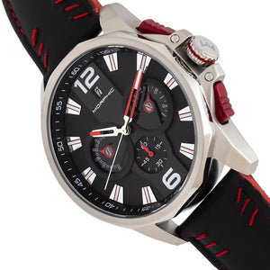 Morphic M82 Series Chronograph Leather-Band Watch w/Date - Silver/Black - MPH8202
