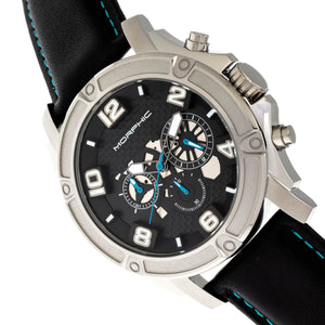 Morphic M73 Series Chronograph Leather-Band Watch - Silver/Black - MPH7302