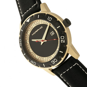 Morphic M71 Series Leather-Band Watch w/Date - Gold/Black - MPH7103