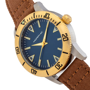 Morphic M85 Series Canvas-Overlaid Leather-Band Watch - Gold/Brown - MPH8501