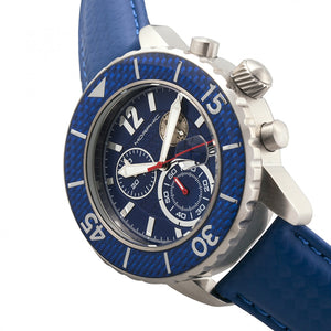 Morphic M51 Series Chronograph Leather-Band Watch w/Date - Silver/Blue - MPH5107