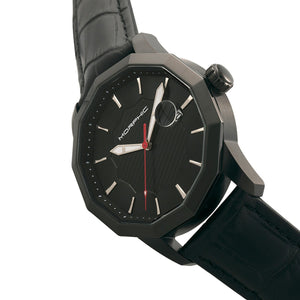 Morphic M56 Series Leather-Band Watch w/Date - Black - MPH5606