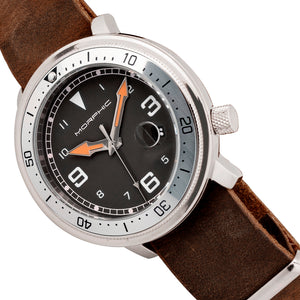 Morphic M74 Series Leather-Band Watch w/Magnified Date Display - Brown/Silver/Black/White - MPH7415