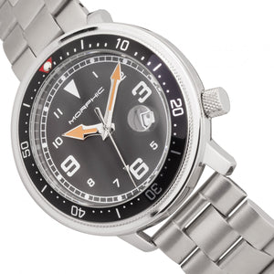 Morphic M74 Series Bracelet Watch w/Magnified Date Display - Gunmetal/Black & Silver/Brown - MPH7407