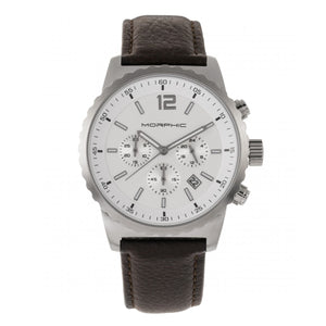 Morphic M67 Series Chronograph Leather-Band Watch w/Date - Silver/Brown - MPH6702