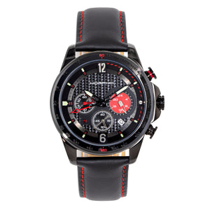 Morphic M88 Series Chronograph Leather-Band Watch w/Date - Black - MPH8806