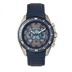 Morphic M66 Series Skeleton Dial Leather-Band Watch w/ Day/Date - Silver/Blue - MPH6603