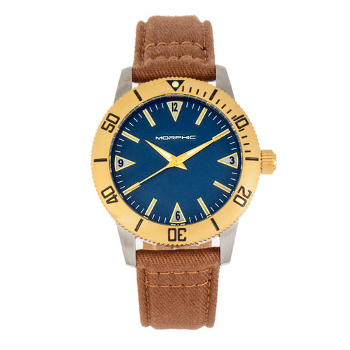 Morphic M85 Series Canvas-Overlaid Leather-Band Watch - MPH8501