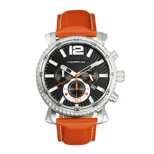 Morphic M89 Series Chronograph Leather-Band Watch w/Date - Camel/Black - MPH8904