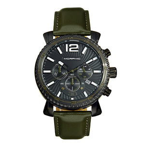 Morphic M89 Series Chronograph Leather-Band Watch w/Date