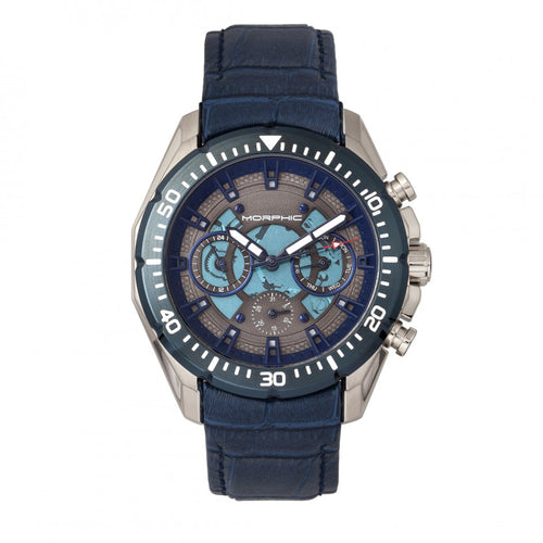 Morphic M66 Series Skeleton Dial Leather-Band Watch w/ Day/Date - MPH6603