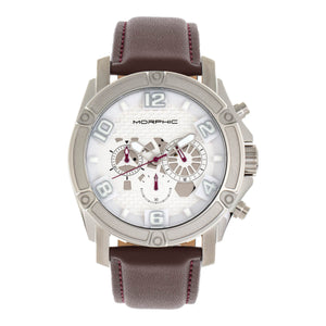 Morphic M73 Series Chronograph Leather-Band Watch - Silver - MPH7301
