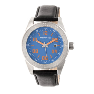 Morphic M63 Series Leather-Band Watch w/Date - Blue/Black - MPH6302