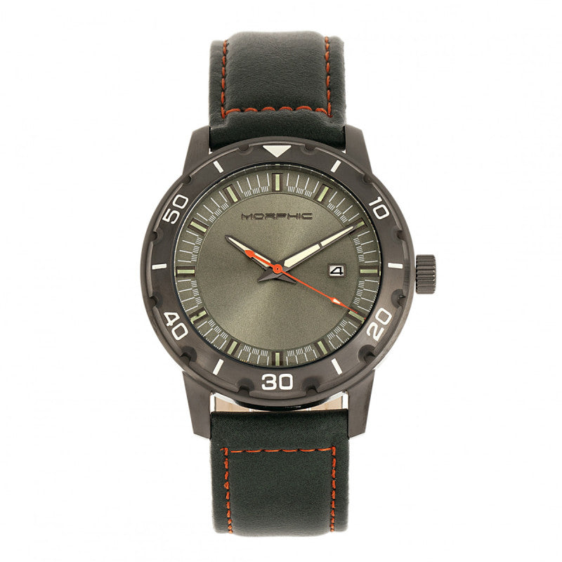Morphic M71 Series Leather-Band Watch w/Date