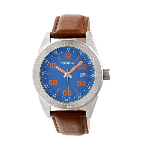 Morphic M63 Series Leather-Band Watch w/Date - MPH6306