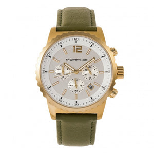 Morphic M67 Series Chronograph Leather-Band Watch w/Date