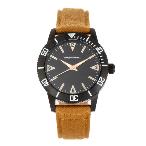 Morphic M85 Series Canvas-Overlaid Leather-Band Watch - MPH8503