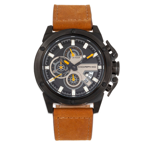 Morphic M81 Series Chronograph Leather-Band Watch w/Date - MPH8106