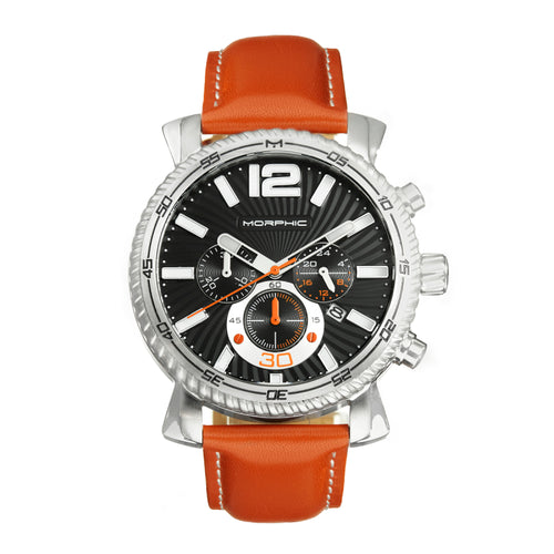 Morphic M89 Series Chronograph Leather-Band Watch w/Date - MPH8904