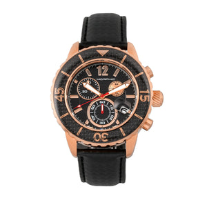 Morphic M51 Series Chronograph Leather-Band Watch w/Date - Rose Gold/Black - MPH5103
