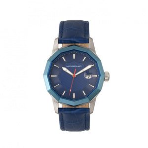 Morphic M56 Series Leather-Band Watch w/Date - Silver/Blue - MPH5602