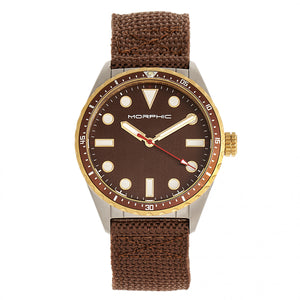 Morphic M69 Series Canvas-Band Watch - Silver/Brown - MPH6903