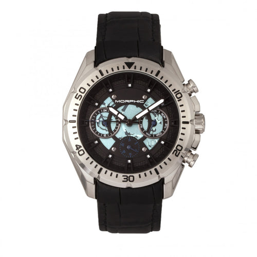 Morphic M66 Series Skeleton Dial Leather-Band Watch w/ Day/Date - MPH6601