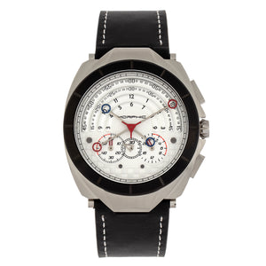 Morphic M79 Series Chronograph Leather-Band Watch - Silver/White - MPH7904