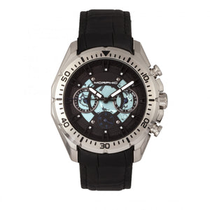 Morphic M66 Series Skeleton Dial Leather-Band Watch w/ Day/Date - Silver/Black - MPH6601