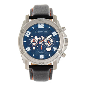 Morphic M73 Series Chronograph Leather-Band Watch - Silver/Blue - MPH7303