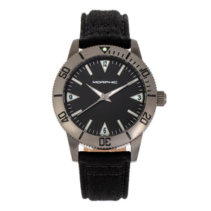 Morphic M85 Series Canvas-Overlaid Leather-Band Watch - Gunmetal/Black - MPH8505
