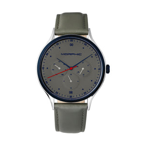 Morphic M65 Series Leather-Band Watch w/Day/Date - Grey - MPH6505