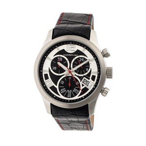 Morphic M37 Series Leather-Band Chronograph Watch - Silver - MPH3701