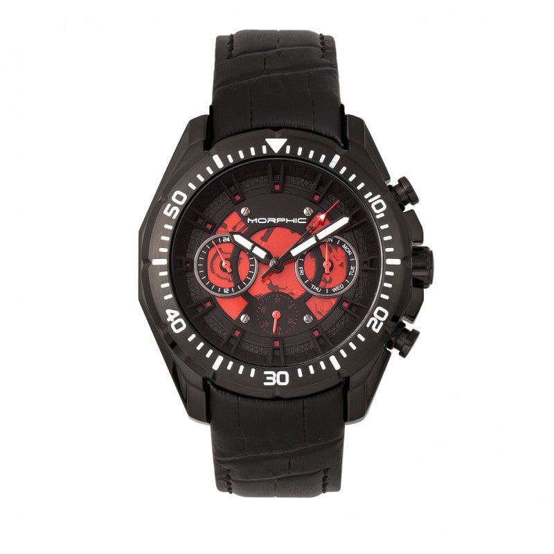 Morphic M66 Series Skeleton Dial Leather-Band Watch w/ Day/Date