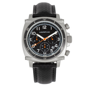 Morphic M83 Series Chronograph Leather-Band Watch w/ Date - Silver/Black - MPH8304