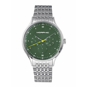 Morphic M65 Series Bracelet Watch w/Day/Date - Silver/Green - MPH6502