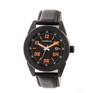 Morphic M63 Series Leather-Band Watch w/Date - Black/Black-Orange - MPH6310
