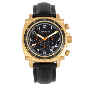 Morphic M83 Series Chronograph Leather-Band Watch w/ Date - Gold/Black - MPH8306