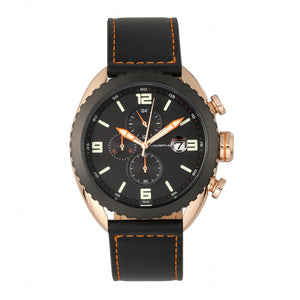 Morphic M64 Series Chronograph Leather-Band Watch w/ Date - Rose Gold/Black - MPH6404