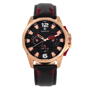 Morphic M82 Series Chronograph Leather-Band Watch w/Date - Rose Gold/Black - MPH8204