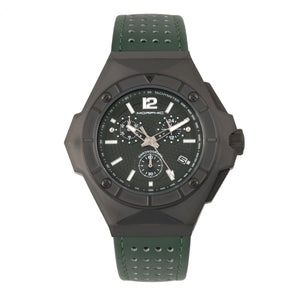 Morphic M55 Series Chronograph Leather-Band Watch w/Date - Black/Green - MPH5505
