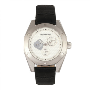Morphic M46 Series Leather-Band Men's Watch w/Date - Silver - MPH4601