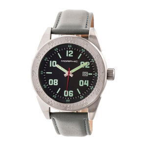 Morphic M63 Series Leather-Band Watch w/Date - Black/Grey - MPH6304