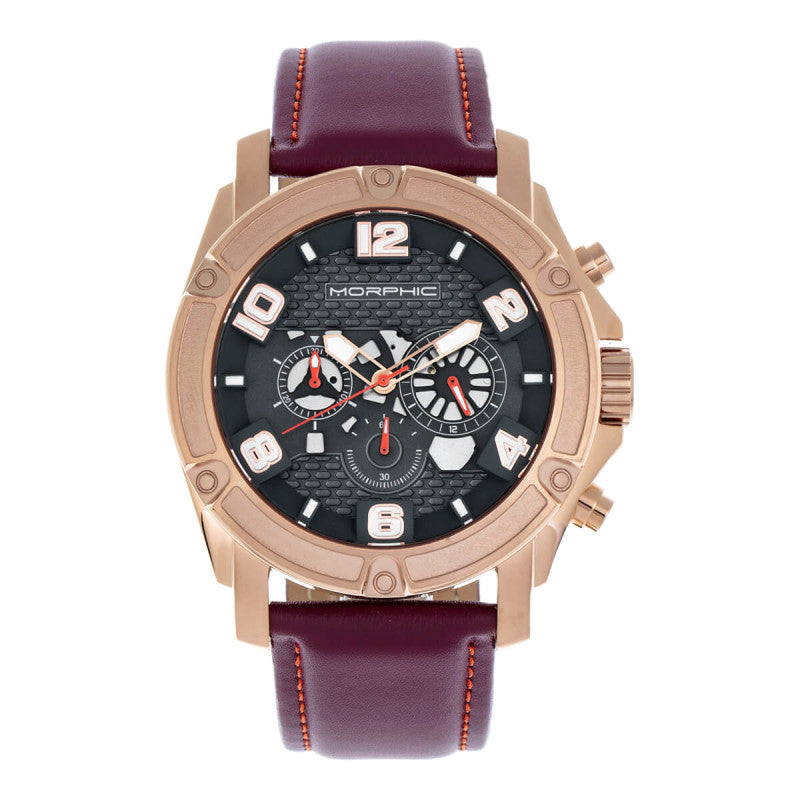 Morphic M73 Series Chronograph Leather-Band Watch
