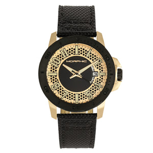 Morphic M70 Series Canvas-Overlaid Leather-Band Watch w/Date - Gold/Black - MPH7003