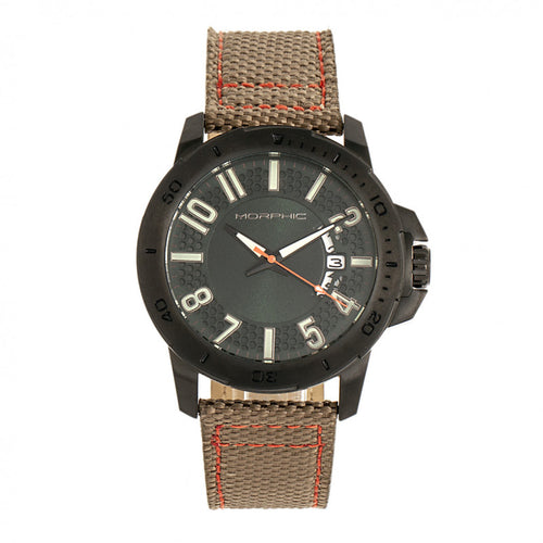 Morphic M70 Series Canvas-Overlaid Leather-Band Watch w/Date - MPH7006