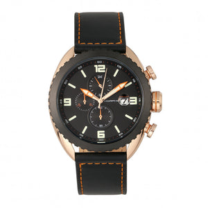 Morphic M64 Series Chronograph Leather-Band Watch w/ Date