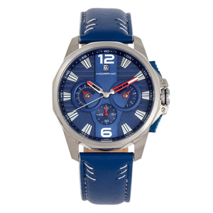 Morphic M82 Series Chronograph Leather-Band Watch w/Date - Silver/Blue - MPH8203